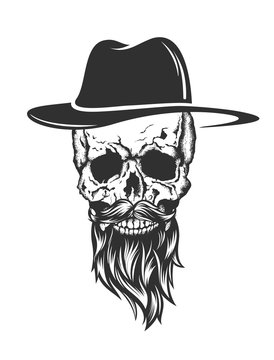 skull with hat beard and mustache