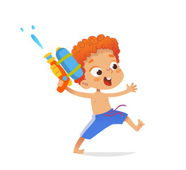 Redhead boy wearing swimming trunks run with a toy water gun. Cartoon character design for the pool party. Vector illustration. Isolated.