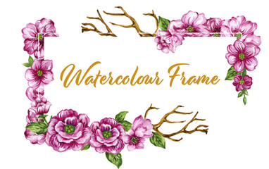 Watercolor gouache Colorful floral collection with leaves and flowers