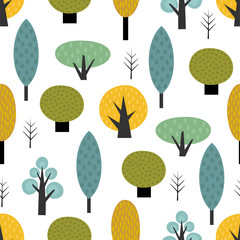 Scandinavian style trees seamless pattern on white background. Cute forest vector illustration. Design for textile, wallpaper, fabric.