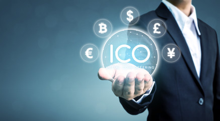 ICO Initial coin offering business financial internet innovation technology concept