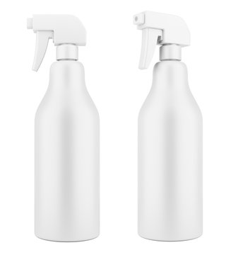 blank plastic cleaner spray bottle template isolated on white background