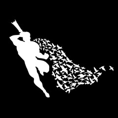 Superman photographer in a cloak of birds. White silhouette on black background