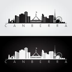 Canberra skyline and landmarks silhouette, black and white design, vector illustration.