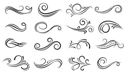 Set of ornamental filigree flourishes and thin dividers