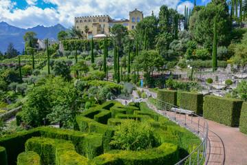 Meran, Italy - 22 June 2018: Botanic garden of Trauttmansdorff Castle at Meran on Italy