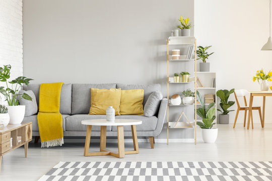 Yellow pillows and blanket on grey sofa in modern living room interior with plants and carpet. Real photo