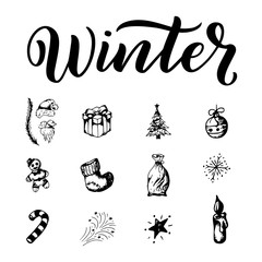 Winter outline set. Season elements on white background. Christmas design in sketch style.