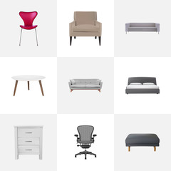 Set of design realistic symbols with round table, armchair, closet and other icons for your web mobile app logo design.