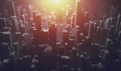 Futuristic city with sun shining