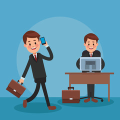 Lawyers working at office with smartphone and computer vector illustration graphic design