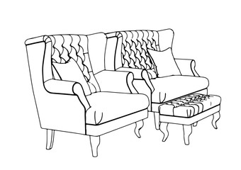 sketch of sofa and armchair vector