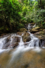 Kathu waterfall in a tropical forest. Phuket, Thailand