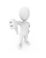 3d man shows thumb down gesture.