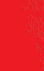 Arabic arabesque design greeting card for Ramadan Kareem.Islamic ornamental monochrome red detail of mosaic. Vector illustration.