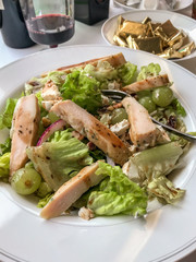 Chicken Salad with Green Grapes on passenger train