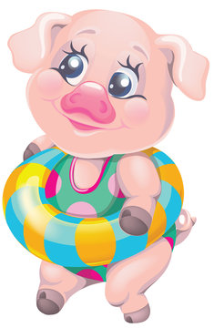 vector clipart cartoon character pig in a swimsuit