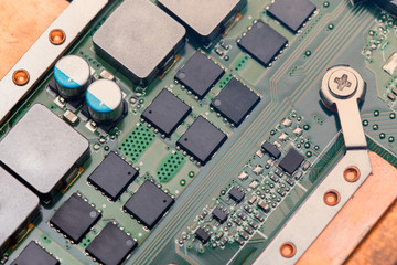 electronic circuit board computer hardware close up
