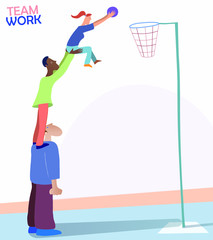Illustration about Teamwork and Team Spirit. Three persons of different races and genders playing basketball. Nice metaphoric picture representing people achieving a common goal. Vector eps10.