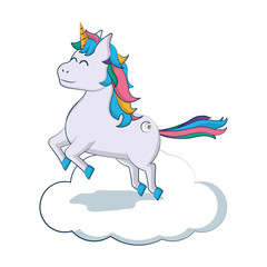happy unicorn with hairstyle jumping in the cloud