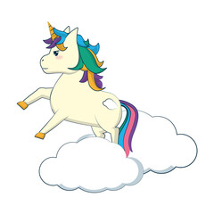 beauty unicorn with hairstyle jumping in the cloud