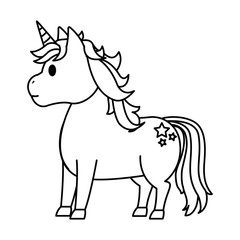 line cute unicorn with stars tattoo style