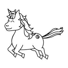 line cute unicorn with arrow tattoo style