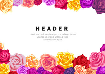 A5 size horizontal flyer template with lots of lovely colorful rosebuds on white