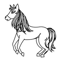 line beauty unicorn with horn and nice hair