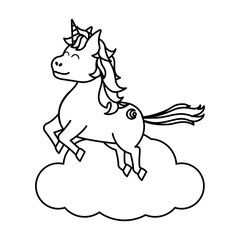 line happy unicorn with hairstyle jumping in the cloud