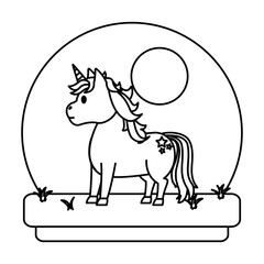 line unicorn with hairstyle and stars tattoo in the landscape
