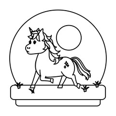 line unicorn with hairstyle and stars style in tha landscape