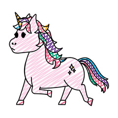 doodle cute unicorn with stars tattoo design