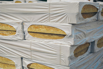 The texture of mineral wool for insulating the walls. warehouse of products ready for import