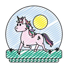 doodle unicorn with hairstyle and stars style in tha landscape