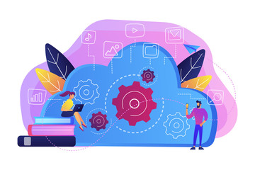 Developers using laptop and smartphone working with cloud data. Multimedia and big data architecture, database, cloud computing, cloud platform concept, violet palette. Vector isolated illustration.