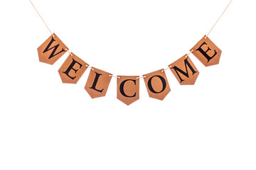Welcome word. Letters spelling welcome. Bunting banner isolated against white background.