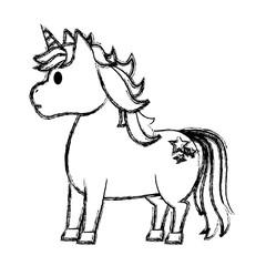 grunge cute unicorn with stars tattoo style