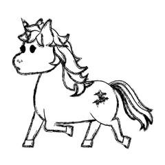 grunge cute unicorn with stars tattoo design