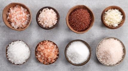 Different varieties of table salt. Wall mural
