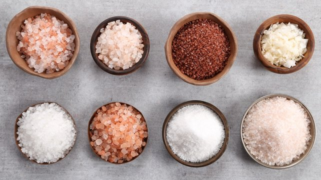 Different varieties of table salt.