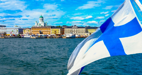 Helsinki, Finland  Market Square and Helsinki Cathedral and Finland flag