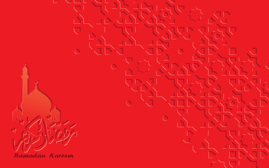 Red arabic calligraphy and arabesque design greeting card for Ramadan Kareem.Islamic ornamental monochrome detail of mosaic.Vector illustration.