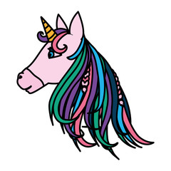 color beauty unicorn head with horn and hairstyle
