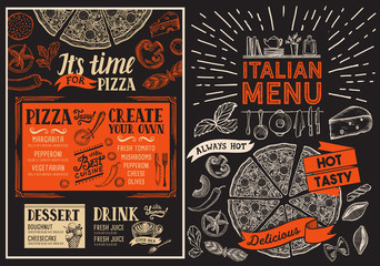 Pizza restaurant menu. Food flyer for italian bar and cafe. Design template with vintage hand-drawn illustrations.