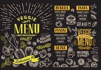 Vegetarian menu for cafe. Vector food flyer for restaurant. Design template with food hand-drawn graphic illustrations.