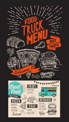 Food truck menu for street fest. Design template with mexican hand-drawn graphic illustrations.
