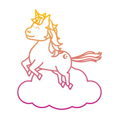 degraded line happy unicorn with hairstyle jumping in the cloud