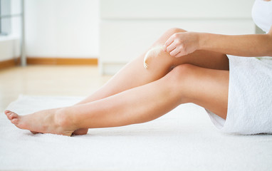 Healthy Legs. Spa. Skincare. Long woman legs and Hands