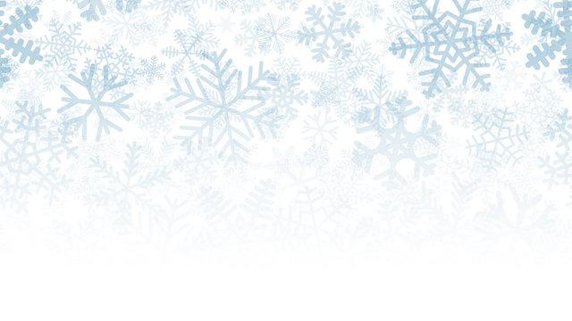 Christmas background of many layers of snowflakes of different shapes, sizes and transparency. Gradient from light blue to white